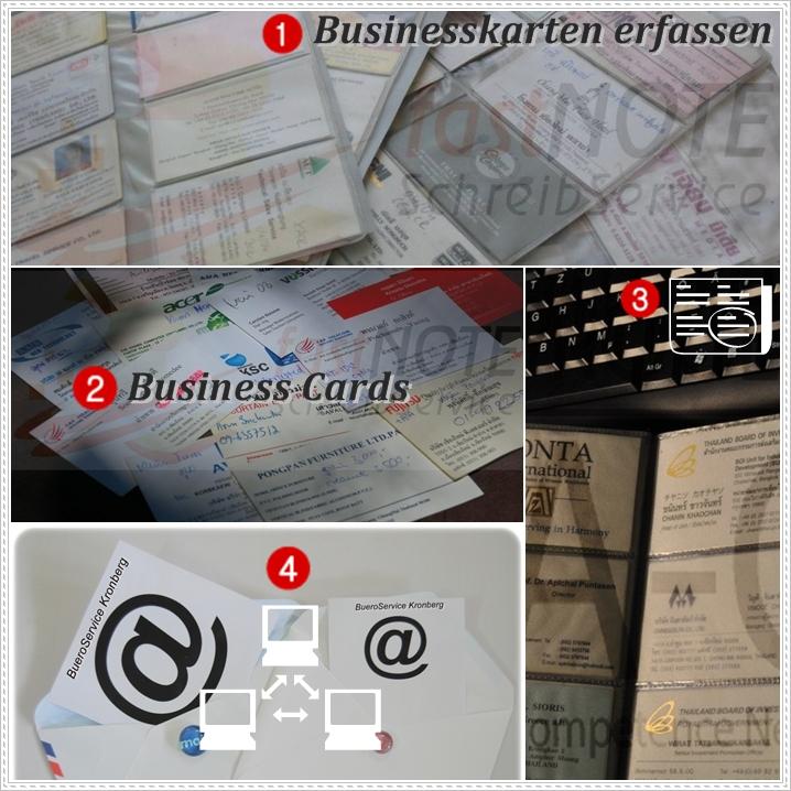 Schreibdienst – Businesskarten, Visitenkarten, Name Cards abtippen