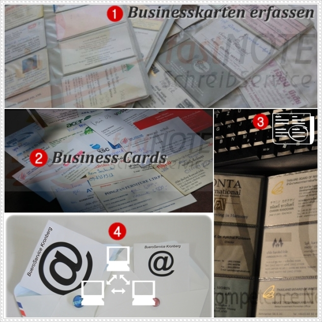 Schreibdienst – Businesskarten, Visitenkarten, Name Cards abtippen