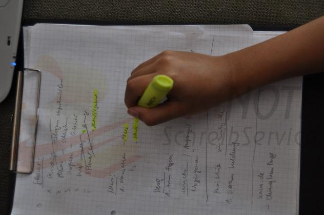 Schreibarbeiten wie handschriftliche Aufzeichnungen abtippen