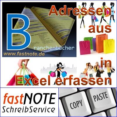 Adressen aus Branchenbüchern in Excel erfassen