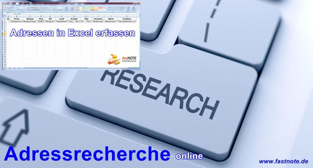 Adressrecherche Online Adresseingabe in Exel