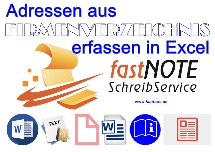 Adressen aus Firmenverzeichnis erfassen in Excel Adresserfassung in Excel, Online-Recherche in XING, Linkedin, Google, Facebook, Twitter, Youtube